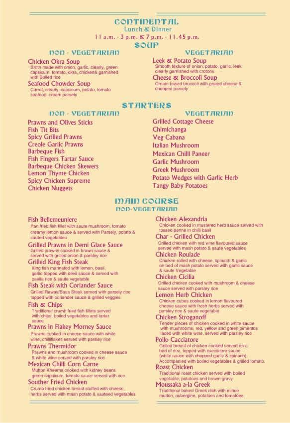 Perth Cafe Menu